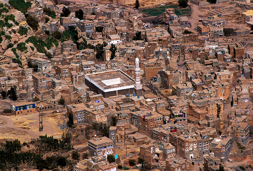 Aerial view of a Yemeni town. Shiban, Yemen