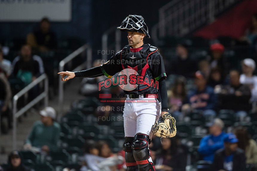 El Paso Chihuahuas catcher Chris Stewart (11) during a Pacific Coast League game against the Albuquerque Isotopes at Southwest University Park on May 10, 2019 in El Paso, Texas. Albuquerque defeated El Paso 2-1. (Zachary Lucy/Four Seam Images)