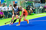 Laurien Leurink #6 of Netherlands tackles during Netherlands vs Korea in a Pool A game at the Rio 2016 Olympics at the Olympic Hockey Centre in Rio de Janeiro, Brazil.