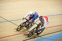 Picture by SWpix.com - 02/03/2018 - Cycling - 2018 UCI Track Cycling World Championships, Day 3 - Omnisport, Apeldoorn, Netherlands - Men's Sprint 1/8 Finals - Yuma Wakaimoto Ryan Owens of Great Britain