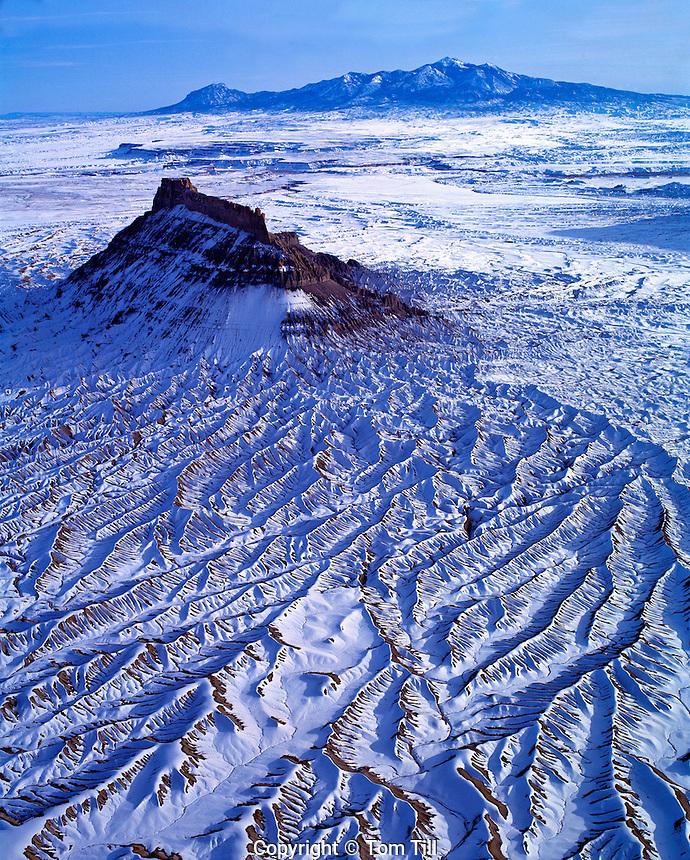 Factory Butte in WInter  Proposed San Rafael Wilderness,  Utah   Aerial View  February.  Near San Rafael Swell