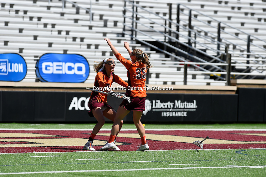 during the 2014 ACC Women's Lacrosse Quarterfinals in Boston, MA, Thursday, April 24, 2014. (Photo by Eric Canha,<br /> theACC.com)