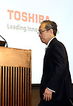 August 10, 2017, Tokyo, Japan - Japan's troubled electronics giant Toshiba president Satoshi Tsunakawa arrives at a press conference to announce delayed financial result ended March at the company's headquarters in Tokyo on Thursday, August 10 2017. Toshiba said it has fallen into negative net worth of 553 billion yen and the auditor issued an adverse opinion on Toshiba's internal control.  (Photo by Yoshio Tsunoda/AFLO) LwX -ytd-