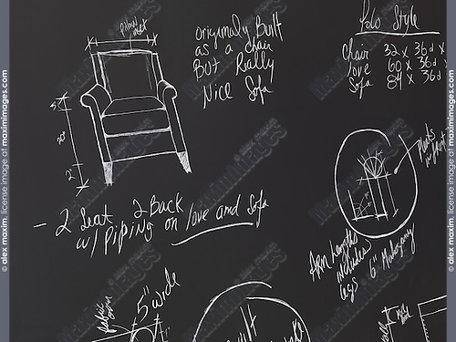 Furniture design sketches on a blackboard. Interior design drawings.