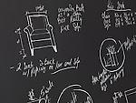 Furniture design sketches on a blackboard. Interior design drawings.