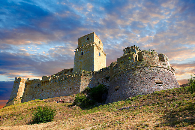 The medieval battlements of the Rocca Maggiore castle on the hilltop above Assisi, Italy