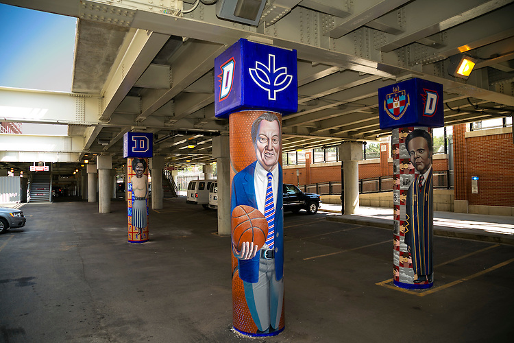 "DePaul University, Public Art Chicago App - CTA Fullerton Murals, Brother Mark Elder - A series of murals Monday, Aug. 8, 2016, on the massive concrete pillars supporting the CTA's ""L"" station and tracks at Fullerton. Throughout the spring 2016 quarter and into the summer, Brother Mark Elder, C.M., and his Mural Class students created several portraits and historically-themed murals that will eventually wrap the support columns, which runs right through DePaul's Lincoln Park Campus. The murals depict many prominent, historical figures that have made an impact on DePaul University. (DePaul University/Joel Dik)"