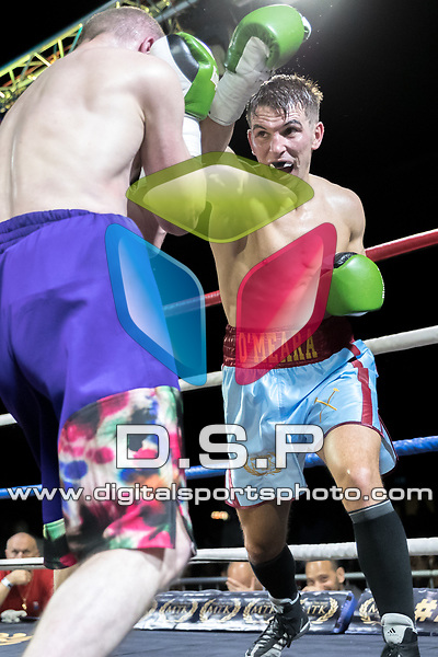 Jake O'Meara vs Andrel Cepur Welterweight Contest During MTK London: Essex Fight Night. Photo by: Simon Downing.<br /> <br /> Saturday October 7th 2017 - Brentwood Centre, Brentwood, Essex, United Kingdom.