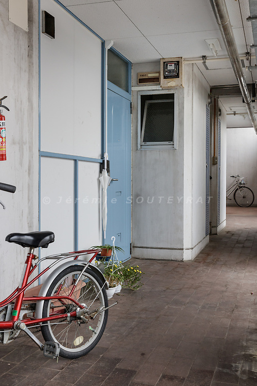 """Hiroshima, Japan, September 10 2016 - Motomachi & Chojuen Apartments, designed by Masato OTAKA, were completed in 1978 to provide housing after the area was destroyed by the atomic bomb. Nearly 10% of the current residents are """"hibakusha"""", survivors of the atomic bomb."""