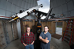 OHIO Mechanical System Technicians Doug Shafer (Left) and Mike Myers were reassembled the telescope at it's new home in the Ridges. ©Ohio University/Photo by Ben Siegel