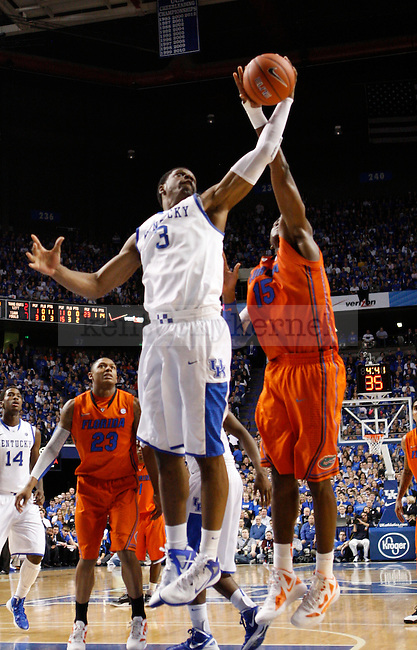 UK forward Terrence Jones gets rebound over Florida's Will Yeguete during the second half of the University of Kentucky Men's basketball game against University of Florida on 2/7/12 in Lexington, Ky. Photo by Quianna Lige | Staff