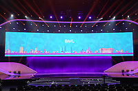 EM Spielort Baku auf der Videowand - 30.11.2019: UEFA EURO2020 Auslosung, Romexpo Bukarest, DISCLAIMER: UEFA regulations prohibit any use of photographs as image sequences and/or quasi-video.