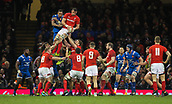 17th March 2018, Principality Stadium, Cardiff, Wales; NatWest Six Nations rugby, Wales versus France; Aaron Shingler of Wales takes the line out ball ahead of Mathieu Babillot of France
