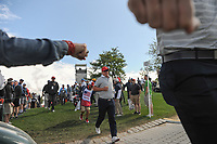 Charley Hoffman (USA) makes his way to 4 during round 3 Four-Ball of the 2017 President's Cup, Liberty National Golf Club, Jersey City, New Jersey, USA. 9/30/2017.<br /> Picture: Golffile | Ken Murray<br /> <br /> All photo usage must carry mandatory copyright credit (&copy; Golffile | Ken Murray)