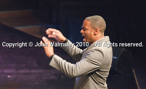 """Mark de Lisser, Musical Director of the ACM Gospel Choir.  Special Olympics Surrey put on a show,   """"Beyond the Stars"""", at the Rose Theatre, Kingston upon Thames to raise money for the  SOGB team.  The Special Olympics are for athletes with learning disabilities."""