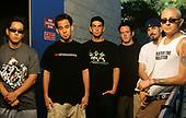 Linkin Park - L-R: Joe Hahn, Mike Shinoda, Rob Bourdon, Dave Farrell, Brad Delson, Chester Bennington - photographed at the Shoreline Amphitheater in Mountain View California USA - 28 Jun 2001.  Photo credit: Joe Giron/IconicPix