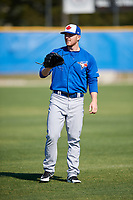 Toronto Blue Jays pitcher Travis Bergen (14) during practice before a Minor League Spring Training Intrasquad game on March 14, 2018 at Englebert Complex in Dunedin, Florida.  (Mike Janes/Four Seam Images)
