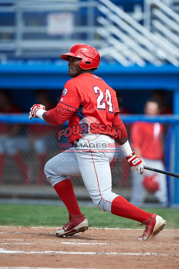 Williamsport Crosscutters outfielder Larry Greene #24 during a NY-Penn League game against the Batavia Muckdogs at Dwyer Stadium on August 26, 2012 in Batavia, New York.  Batavia defeated Williamsport 7-1.  (Mike Janes/Four Seam Images)