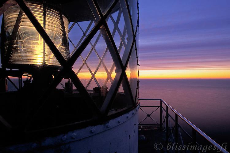 Lagskar Light shines into the twilight darkness of the Baltic Sea -Åland, Finland.