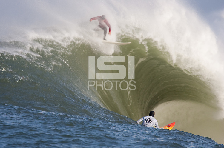 Evan Slater, Darryl Flea Virostko. Mavericks Surf Contest in Half Moon Bay, California on February 13th, 2010.