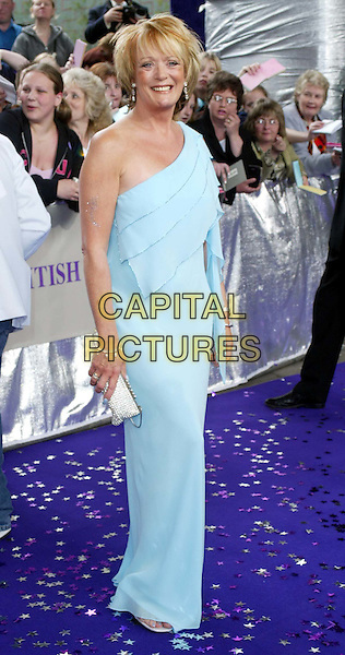 SHERRIE HUWSON..British Soap Awards..18/05/02..turquoise dress, aqua dress, small handbag, full length..sales@capitalpictures.com..www.capitalpictures.com