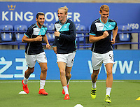 Pictured L-R: Angel Rangel, Oliver McBurnie and Jay Fulton of Swansea City Saturday 27 August 2016<br />Re: Swansea City FC v Leicester City FC Premier League game at the King Power Stadium, Leicester, England, UK