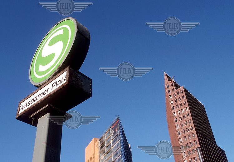 Sign for the S-Bahn, the overground railway, in the Potsdamer Platz, the new business centre of post-unification Berlin.