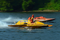 """Harry Holst, E-160 """"Heatwave"""" (1960's Whiteman 280 class cabover hydroplane) and Jay Marshall, E-102 """"Tijuana Taxi"""" (1966 Hallet 280 class hydroplane)"""