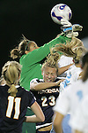 9 November 2007: Virginia goalkeeper Chantel Jones (green jersey) has the ball slip from her grasp over the head of teammate Nikki Krzysik (23). The University of North Carolina tied the University of Virginia 1-1 at the Disney Wide World of Sports complex in Orlando, FL in an Atlantic Coast Conference tournament semifinal match.  UNC advanced to the finals on penalty kicks, 4-2.