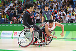 (L-R) Reo Fujimoto (JPN), Selim Sayak (TUR), <br /> SEPTEMBER 8, 2016 - Wheelchair Basketball : <br /> Preliminary Round Group A<br /> match between Turkey 65-49 Japan<br /> at Carioca Arena 1<br /> during the Rio 2016 Paralympic Games in Rio de Janeiro, Brazil.<br /> (Photo by AFLO SPORT)