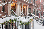 Christmas snowstorm in the Back Bay neighborhood, Boston, MA
