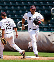 Brock Chaffin (25) of the Missouri State Bears steps on first base during a game against the Evansville Purple Aces at Hammons Field on May 12, 2012 in Springfield, Missouri. (David Welker/Four Seam Images)