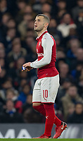 Jack Wilshere of Arsenal holds onto the Captain armband during the Carabao Cup semi final 1st leg match between Chelsea and Arsenal at Stamford Bridge, London, England on 10 January 2018. Photo by Andy Rowland.