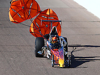 Feb 26, 2016; Chandler, AZ, USA; NHRA top dragster driver Bobby Ray McMahan during qualifying for the Carquest Nationals at Wild Horse Pass Motorsports Park. Mandatory Credit: Mark J. Rebilas-