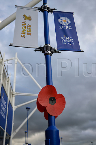 07.11.2015. King Power Stadium, Leicester, England. Barclays Premier League. Leicester versus Watford. Poppies on display outside the ground.