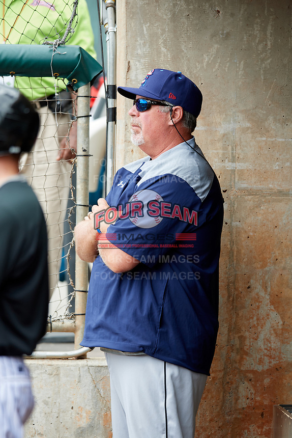 Jacksonville Jumbo Shrimp pitching coach Storm Davis in the dugout during a game against the Birmingham Barons on April 24, 2017 at Regions Field in Birmingham, Alabama.  Jacksonville defeated Birmingham 4-1.  (Mike Janes/Four Seam Images)