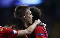 Spain's Dani Olmo, center, celebrates with his teammates after scoring after scoring during the Uefa Under 21 Championship 2019 football final match between Spain and Germany at Udine's Friuli stadium, Italy, June 30, 2019. Spain won 2-1.<br /> UPDATE IMAGES PRESS/Isabella Bonotto
