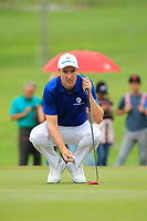 Ross Fisher (Europe) on the 1st green during the Singles Matches of the Eurasia Cup at Glenmarie Golf and Country Club on the Sunday 14th January 2018.<br /> Picture:  Thos Caffrey / www.golffile.ie