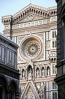 Facade, Cathedral Santa Maria del Fiore, Florence, Italy , also known as the Duomo, begun in 1296 by Arnolfo di CAMBIO, dome by Filippo BRUNELLESCHI, 1377-1446, completed in 1436 pictured on June 10 2007.