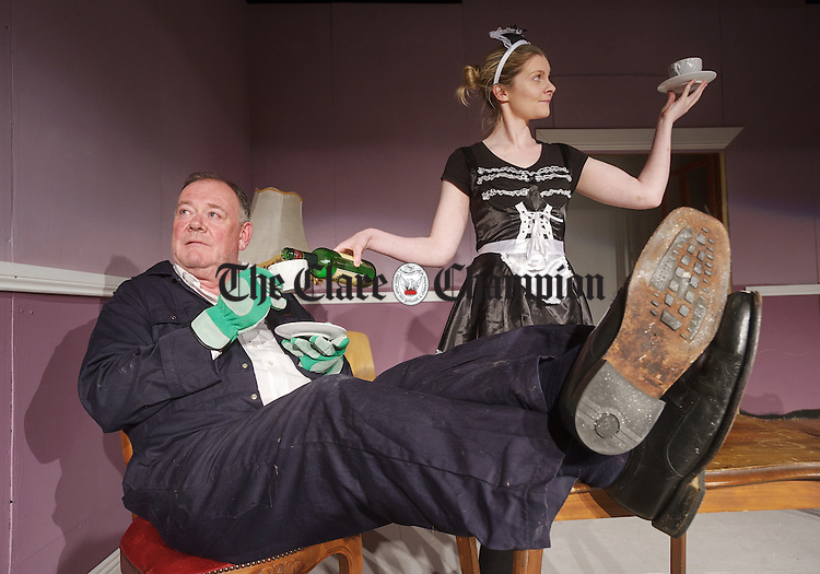 Michael Keane and The gardener and his daughter Laura Keane as The Maid in rehearsals for Corofin Dramatic Society's production of The case Of The Missing Tiara, written and directed by Gerry Kennedy, which runs on November 9th,10th and 10th in the local community centre. Photograph by John Kelly.