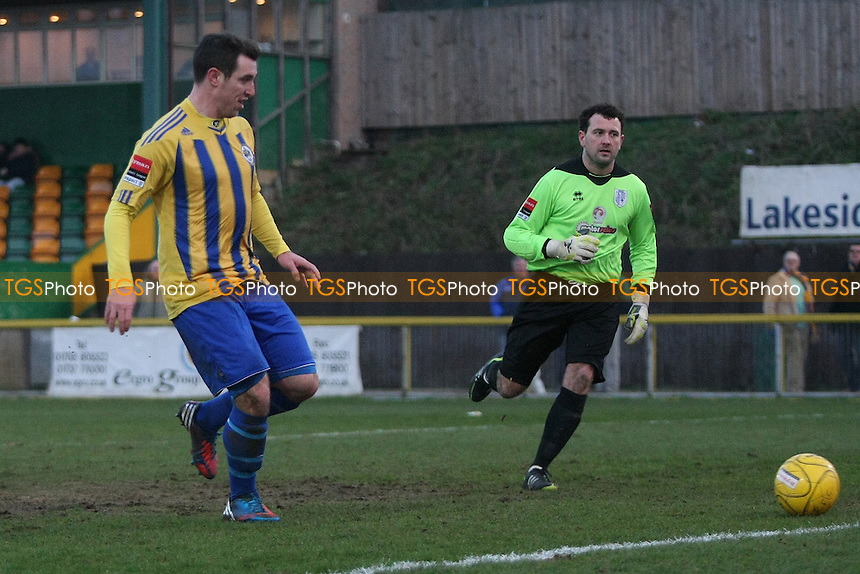 Nick Reynolds scores third goal for Romford - Romford vs Ware - Ryman League Division One North Football at Ship Lane, Thurrock FC - 12/01/13 - MANDATORY CREDIT: George Phillipou/TGSPHOTO - Self billing applies where appropriate - 0845 094 6026 - contact@tgsphoto.co.uk - NO UNPAID USE.