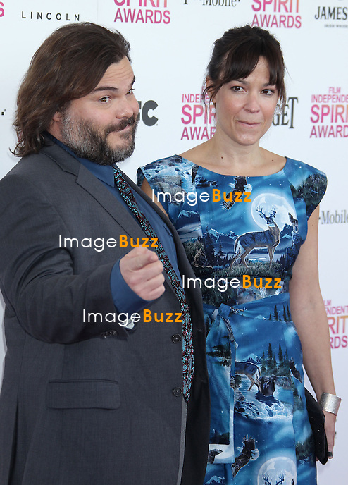 Jack Black, Tanya Haden during the 2013 FILM INDEPENDENT SPIRIT AWARDS, held at the beach at Santa Monica, on February 23, 2013, in Santa Monica, California..