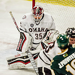 17 October 2015: University of Nebraska Omaha Maverick Goaltender Evan Weninger, a Freshman from Saskatoon, Saskatchewan, makes a third period save against the University of Vermont Catamounts at Gutterson Fieldhouse in Burlington, Vermont. The Mavericks defeated the Catamounts 3-1 in the second game of their weekend series. Mandatory Credit: Ed Wolfstein Photo *** RAW (NEF) Image File Available ***