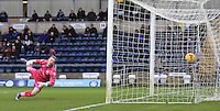 Wycombe keeper Ryan Allsop can only watch Cameron McGeehan's shot jit the back of the net during the Sky Bet League 2 match between Wycombe Wanderers and Luton Town at Adams Park, High Wycombe, England on 6 February 2016. Photo by Liam Smith.