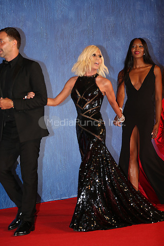 Riccardo Tisci, Donatella Versace and Naomi Campbell attend the premiere of 'Franca: Chaos And Creation' during the 73rd Venice Film Festival at Sala Giardino on September 2, 2016 in Venice, Italy.<br /> CAP/GOL<br /> &copy;GOL/Capital Pictures /MediaPunch ***NORTH AND SOUTH AMERICAS ONLY***