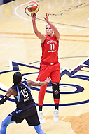 Washington, DC - September 2 2018: Washington Mystics forward Elena Delle Donne (11) connects from downtown over Atlanta Dream guard Tiffany Hayes (15) during semifinals game against Atlanta Dream. Mystics even the series and force a deciding game 5 in Atlanta with a 97-76 win at the Charles Smith Center at George Washington University in Washington, DC. (Photo by Phil Peters/Media Images International)