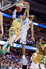 Mar. 28, 2015; Zach Auguste (30) dunks in the second half of the 2015 NCAA Tournament regional final against Kentucky. (Photo by Matt Cashore/University of Notre Dame)