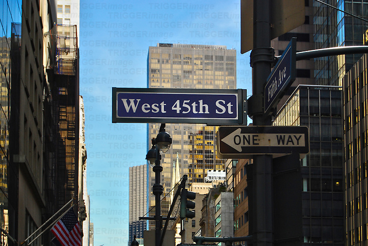 Street Signs on Fifth Avenue, Manhattan, New York City.
