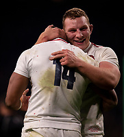 England's Sam Underhill celebrates with England's Joe Cokanasiga<br /> <br /> Photographer Bob Bradford/CameraSport<br /> <br /> 2018 Quilter Internationals - England v Australia - Saturday 24th November 2018 - Twickenham - London<br /> <br /> World Copyright &copy; 2018 CameraSport. All rights reserved. 43 Linden Ave. Countesthorpe. Leicester. England. LE8 5PG - Tel: +44 (0) 116 277 4147 - admin@camerasport.com - www.camerasport.com