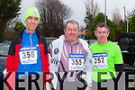 Geoffrey Stacey Tralee, Michael Flanagan lyrecompane and John Early Tralee who ran in the Beaufort 10km road race on New Years day